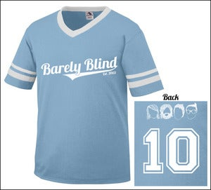 Image of Limited Edition 10 Year Anniversary Baseball Tee Light Blue/White