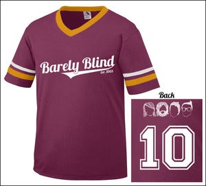 Image of Limited Edition 10 Year Anniversary Baseball Tee Light Maroon/Gold/White