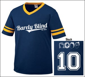 Image of Limited Edition 10 Year Anniversary Baseball Tee Navy/Gold