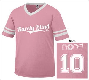 Image of Limited Edition 10 Year Anniversary Baseball Tee Pink/White