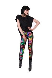 Image of RAINBOW SNAKESKIN LEGGINGS with sheer side panels...
