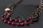 Image of Long Mixed Metal Ruby Necklace