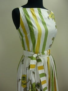 Image of 50's roses &amp; stripes cotton sundress