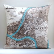 "Image of Vintage PITTSBURGH, PA Map Pillow, Made to Order 18"" x18"" Cover"