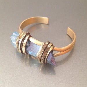 Image of BRASS & AQUA AURA QUARTZ CUFF