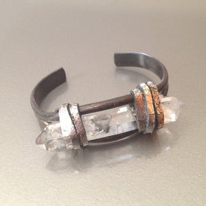 Image of TIBETAN QUARTZ ON OXIDIZED CUFF