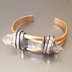 Image of TIBETAN QUARTZ BRASS CUFF