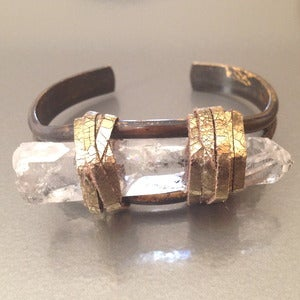 Image of OXIDIZED SINGLE FLAME CUFF/GOLD