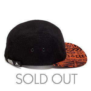 Image of MOUPIA Black Wool/Orange Kitenge 5 Panel hat