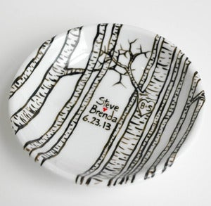 Image of Personalized Birch Tree Ring Dish