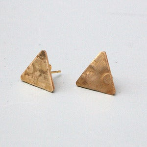 Image of Small Brass Triangle Earrings by Rachel Loves Bob
