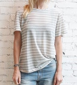 Image of Grey/White Striped Tee