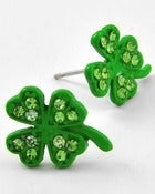 Image of GREEN & RHINESTONE SHAMROCK POSTS