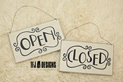 Image of Open / Closed Cream Wood Sign - Vintage Style - Photography Prop