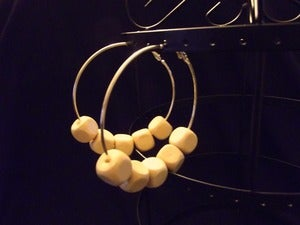 Image of Wooden Cube Hoops - Cream
