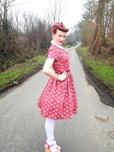 Image of 1950s Country rose shirt dress