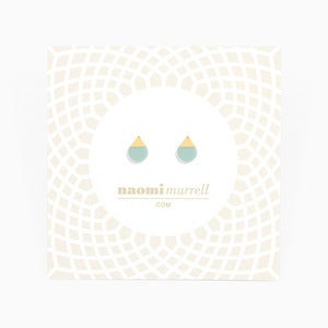 Image of Droplet Studs | Mint + Golden