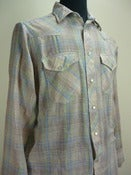 pale plaid western-cut cowboy shirt
