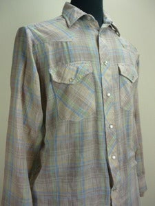 Image of pale plaid western-cut cowboy shirt