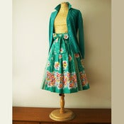 View gorgeous original 60s border print floral full skirt