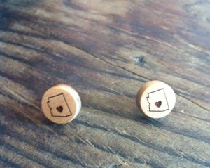 Image of Heart AZ Wood Earrings