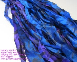 Image of Limited Edition: Indigo and Purple: Jersey Girl Reclaimed Silk Ribbon