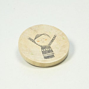 Image of Illustrated wooden brooch - Happy Boy