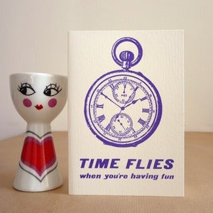 Image of Time Flies Pocket Watch card