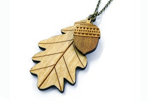Image of Woodland Leaf and Acorn Necklace