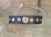 Image of Detailed Floral Antique Button Leather Cuff