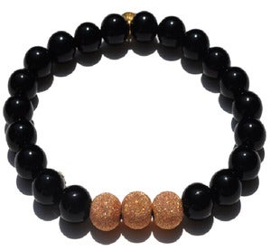 Image of Elastic Bracelet w/ Rose Gold & Shiny Onyx
