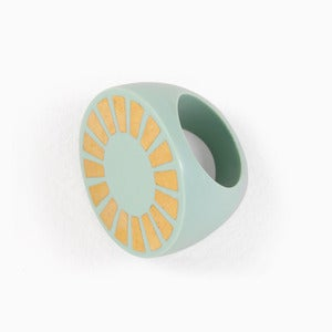 Image of Sunshine Statement Ring | Mint + Golden | 30% OFF!