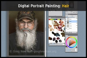 Image of Digital Portrait Painting: Hair