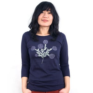 Image of Navy 3/4 Sleeve Tee with Cotton Print