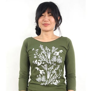 Image of Olive 3/4 Sleeve Tee with Herb Garden Print