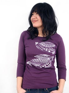 Image of Purple 3/4 Sleeve Tee with Lovebirds
