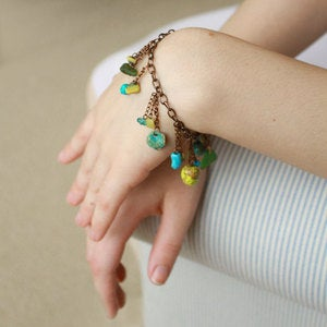 Image of Lime Green &amp; Bonfire Sea Glass Bracelet with Turquoise &amp; Aquamarine