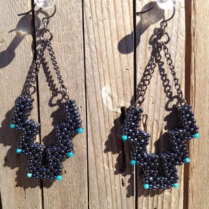 Image of Hematite Open Mountain Earrings