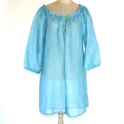 Image of Linen Gauze Overshirt in Reef Blue