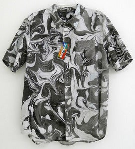 Image of Black and White Marbleized Button-Down