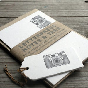 Image of Vintage Camera  Letterpress Note Cards and tags