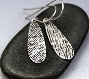 Image of Small Sterling Silver Teardrop Earrings - Grass Texture