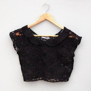 Image of Black Lace Peter Pan Collar Crop Top by Kee Boutique