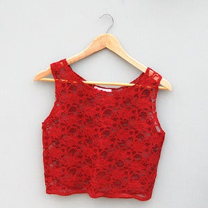 Image of Red Lace Crop Top By Kee Boutique