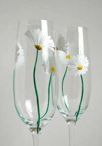 Image of White Daisy Champagne Flutes - Set of 2 Toasting Flutes