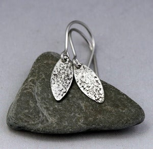 Image of Sterling Tiny Petals Earrings - Sand Texture