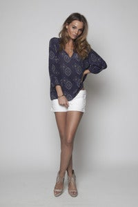 Image of Blue Graph Panel Blouse
