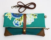 Image of -S O L D- deep teal foldover with vintage floral appliques