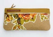 Image of -S O L D- a double zip clutch in nutmeg with vintage floral appliques (a)
