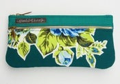 Image of -S O L D- a double zip clutch in deep teal with vintage floral appliques (b)